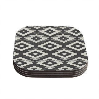 "Kess InHouse Amanda Lane ""Southwestern Black Cream"" Tribal Geometric Coasters (Set of 4) 4""x 4"""