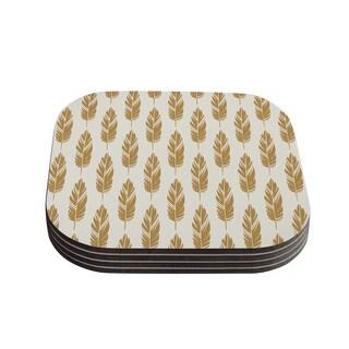 Kess InHouse Amanda Lane 'Feathers Yellow Cream' Mustard Pattern Coasters (Set of 4)