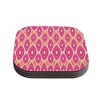 Kess InHouse Amanda Lane 'Pink and Orange Moroccan' Magenta Tangerine Coasters (Set of 4)