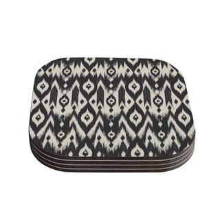 Kess InHouse Amanda Lane 'Black Cream Tribal Ikat' Tan Dark Coasters (Set of 4)