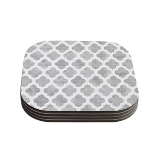 Kess InHouse Amanda Lane 'Gray Moroccan' Grey White Coasters (Set of 4)