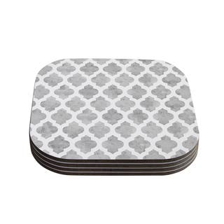 "Kess InHouse Amanda Lane ""Gray Moroccan"" Grey White Coasters (Set of 4) 4""x 4""
