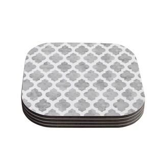 "Kess InHouse Amanda Lane ""Gray Moroccan"" Grey White Coasters (Set of 4) 4""x 4"""