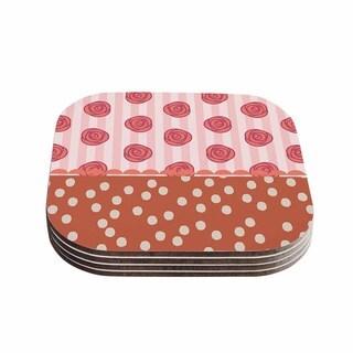Kess InHouse Pellerina Design 'Mismatch Bohemain' Coral Floral Coasters (Set of 4)