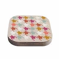 "Kess InHouse Pellerina Design ""Houndstooth Panel"" Gold Digital Coasters (Set of 4) 4""x 4"""