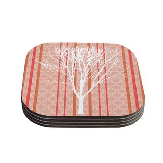 "Kess InHouse Pellerina Design ""Spring Tree"" Orange Pastel Coasters (Set of 4) 4""x 4"""