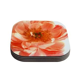 "Kess InHouse Pellerina Design ""Blushing Peony"" Coral White Coasters (Set of 4) 4""x 4"""