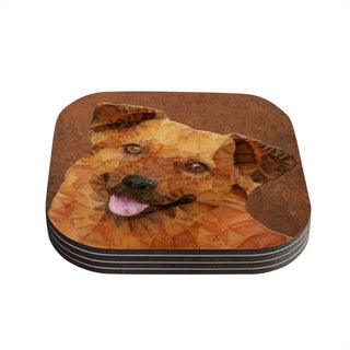 Kess InHouse Ancello 'Abstract Puppy' Brown Geometric Coasters (Set of 4)