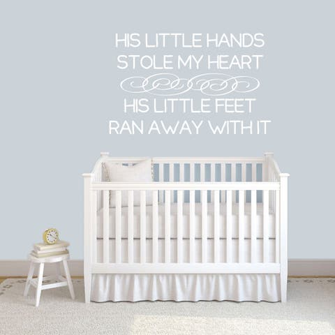 His Little Hands Stole My Heart Nuresry Wall Decal 48-inch wide x30-inch tall