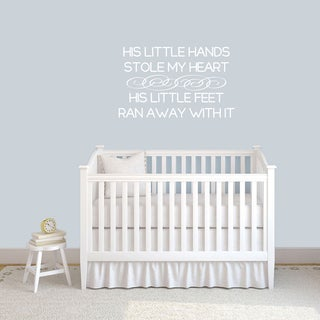 His Little Hands Stole My Heart Nursery Wall Decal 36-inch wide x 22-inch tall