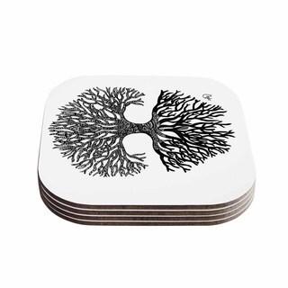Kess InHouse Adriana De Leon 'The Tree of Life' Black White Coasters (Set of 4)