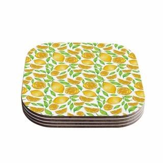Kess InHouse Alisa Drukman 'Lemons' Yellow Floral Coasters (Set of 4)