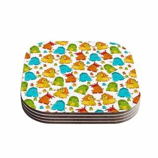 Kess InHouse Alisa Drukman 'Good Monsters' Blue Kids Coasters (Set of 4)