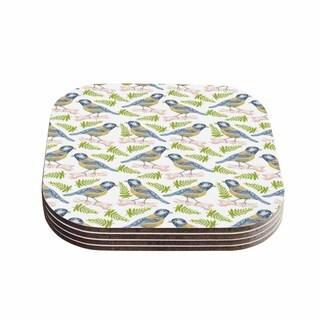 Kess InHouse Alisa Drukman 'Bird. Tit' Green Pattern Coasters (Set of 4)