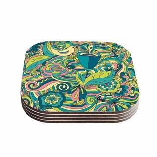 """Kess InHouse Alisa Drukman """"Birds in garden"""" Teal Green Coasters (Set of 4) 4""""x 4"""""""