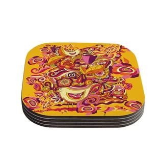 "Kess InHouse Alisa Drukman ""Utopia"" Orange Gold Coasters (Set of 4) 4""x 4"""