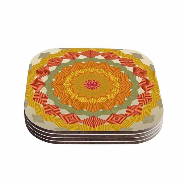 "Kess InHouse Angelo Cerantola ""Composition"" Orange Beige Coasters (Set of 4) 4""x 4"""