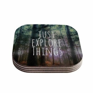 Kess InHouse Alison Coxon 'Just Explore Things' Green Photography Coasters (Set of 4)