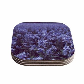 "Kess InHouse Ann Barnes ""Bluebell Forest"" Purple Flowers Coasters (Set of 4) 4""x 4"""
