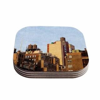 Kess InHouse Ann Barnes 'Vintage NYC' Cityscape Coasters (Set of 4)