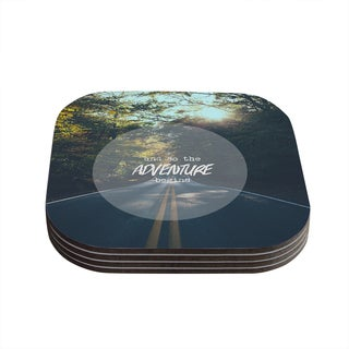 "Kess InHouse Ann Barnes ""The Adventure Begins"" Typography Nature Coasters (Set of 4) 4""x 4"""