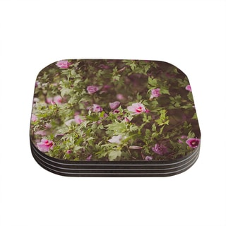 "Kess InHouse Ann Barnes ""Lush"" Green Pink Coasters (Set of 4) 4""x 4"""