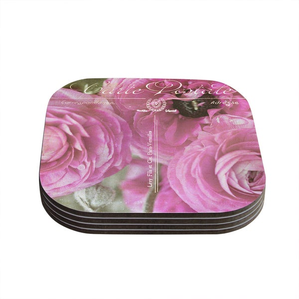 "Kess InHouse Ann Barnes ""Paris Postcard"" Pink Flowers Coasters (Set of 4) 4""x 4"""