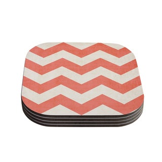 Kess InHouse Ann Barnes 'Vintage Coral' Orange Chevron Coasters (Set of 4)