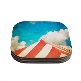 "Kess InHouse Ann Barnes ""The Big Top"" Red Blue Coasters (Set of 4) 4""x 4"""