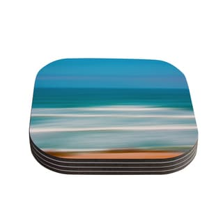 "Kess InHouse Ann Barnes ""Sun and Sea"" Blue Aqua Coasters (Set of 4) 4""x 4"""
