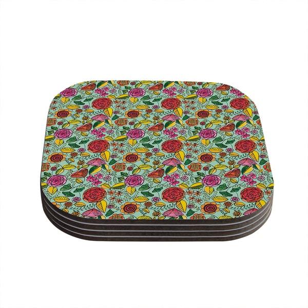 "Kess InHouse Allison Beilke ""Garden Variety"" Flowers Coasters (Set of 4) 4""x 4"""
