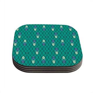 """Kess InHouse Allison Beilke """"Suncoast Emerald"""" Coasters (Set of 4) 4""""x 4"""""""