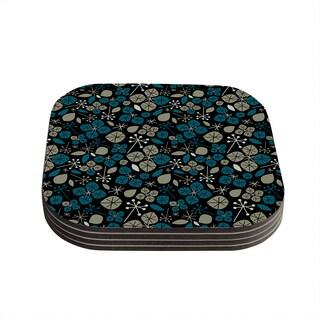 """Kess InHouse Allison Beilke """"Leaf Scatters Midnight"""" Coasters (Set of 4) 4""""x 4"""""""