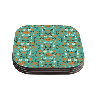 "Kess InHouse Allison Beilke ""Autumn Harvest Blue"" Coasters (Set of 4) 4""x 4"""