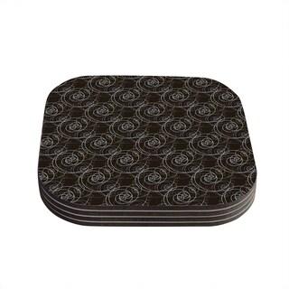 Kess InHouse Mydeas 'Nautical Breeze - Spiral Swirls' Brown Pattern Coasters (Set of 4)