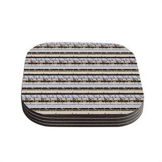 Kess InHouse Mydeas 'Nautical Breeze - Sandy Stripes' Tan Blue Coasters (Set of 4)