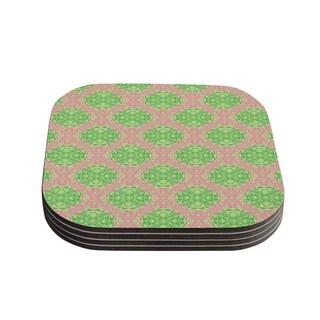 Kess InHouse Mydeas 'Diamond Illusion Damask Watermelon' Pink Green Coasters (Set of 4)