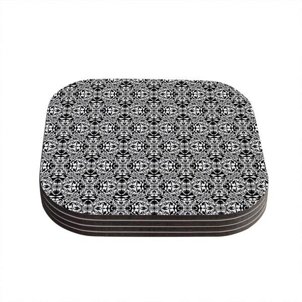 "Kess InHouse Mydeas ""Diamond Illusion Damask Black & White"" Pattern Coasters (Set of 4) 4""x 4"""