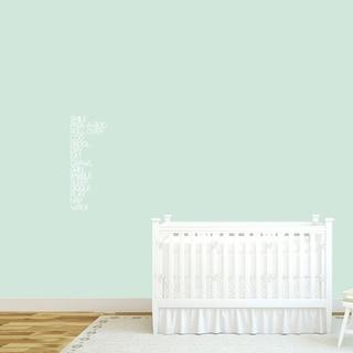 Baby Words Nursery Wall Decal 10-inch wide x 26-inch tall