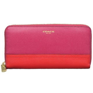 Coach Saffiano Colorblock Cranberry/ Vermillion Zip Wallet