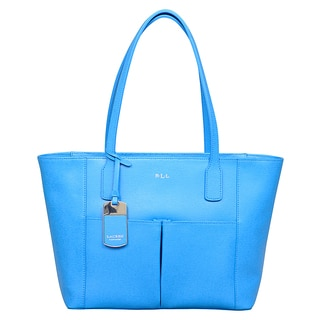 Ralph Lauren Newbury French Blue Pocket Shopper Tote Bag