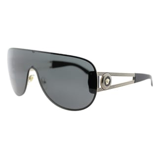 Versace VE 2166 125287 Pale Gold Metal Shield Grey Lens Sunglasses