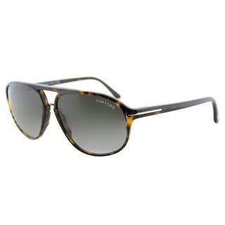 Tom Ford TF 447 52B Jacob Dark Havana Plastic Aviator Grey Gradient Lens Sunglasses