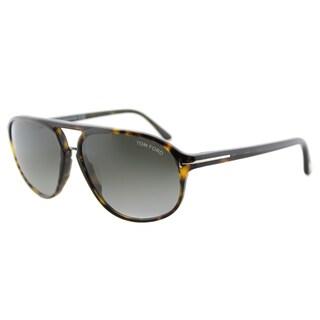 Tom Ford TF 447 52B Jacob Dark Havana Plastic Aviator Grey Gradient Lens Sunglasses
