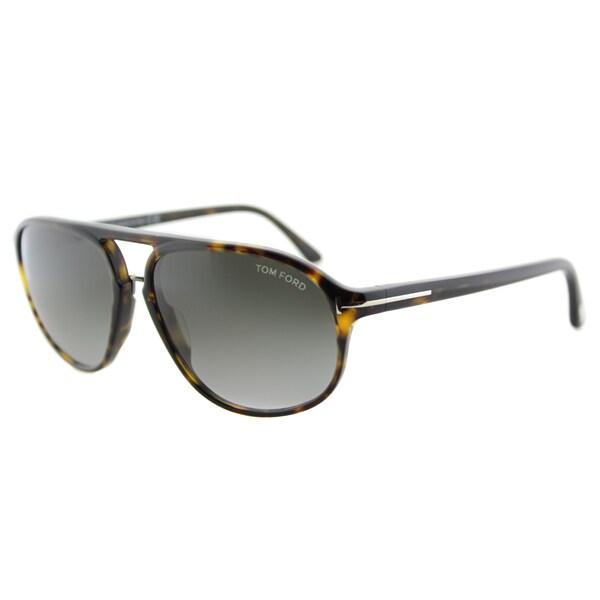 62f56ee429eb8 Tom Ford TF 447 52B Jacob Dark Havana Plastic Aviator Grey Gradient Lens  Sunglasses