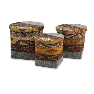Tymon Waterhyacinth Baskets with Lids (Set of 3)