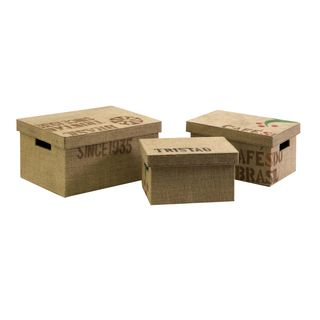 Tavin Jute Fabric Boxes (Set of 3)