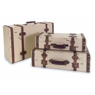 Antique Ivory Suitcases (Set of 3)