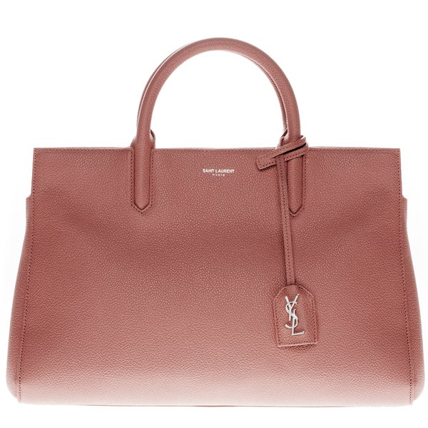 6f8050cc2d1c Shop Saint Laurent Small Cabas Rive Gauche Mauve Grained Leather Bag - Free  Shipping Today - Overstock.com - 11801657