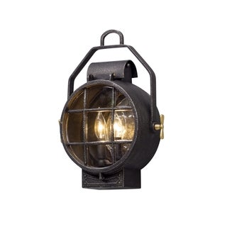 Troy Lighting Point Lookout 12-inch Silver/ Brass Outdoor Wall Light